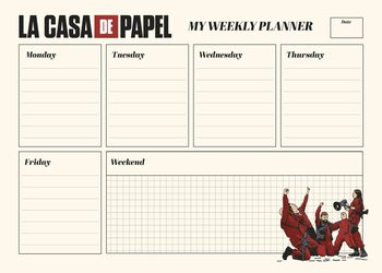 Weekplanner Money Heist (La Casa De Papel) Stationery