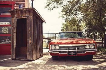 Cars - Red Cadillac Steklena slika