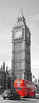 London - Big Ben and Red Telephone Box Steklena slika