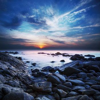 Sea - Bay at Sunset Steklena slika