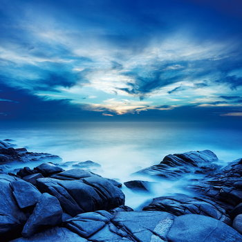 Sea - Blue Bay Steklena slika