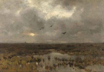 The Marsh, Anton Mauve Steklena slika