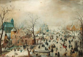 Winter Landscape With Skaters, Hendrick Avercamp Steklena slika