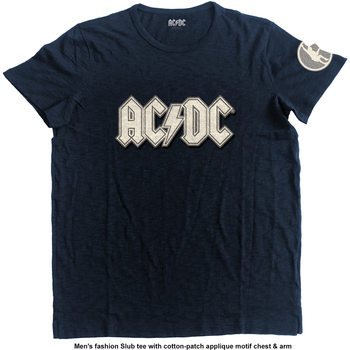 T-shirt AC/DC- Logo & Angus Applique Slub Mens Navy