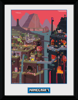 Poster encadré Minecraft - World