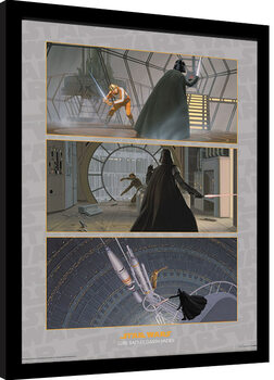 Poster encadré Star Wars - Luke Battles Darth Vader