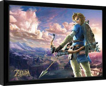 Poster encadré The Legend Of Zelda: Breath Of The Wild - Hyrule Scene Landscape