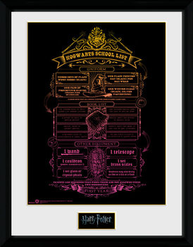Harry Potter - Hogwarts List Poster encadré