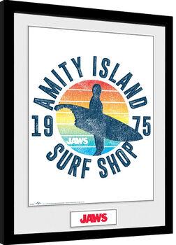 Les dents de la mer - Amity Island Surf Shop Poster encadré