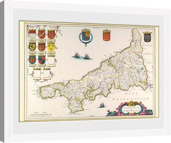 Maps - Cornwall (White) Poster encadré