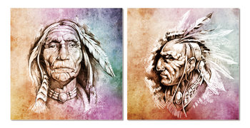 American Indian painting Tableau Multi-Toiles