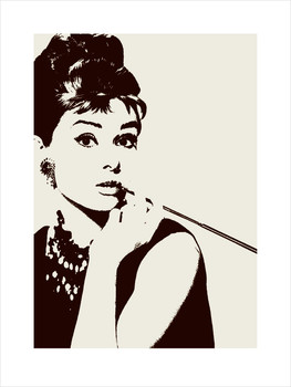 Audrey Hepburn - cigarello Reproduction de Tableau