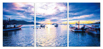 Blue sky over the lake Tableau Multi-Toiles
