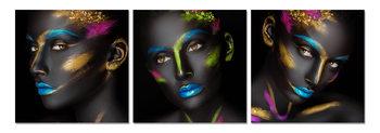Fluorescent portrait of a woman Tableau Multi-Toiles