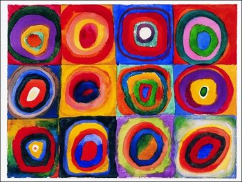 Kandinsky - Farbstudie Quadrate Reproduction de Tableau