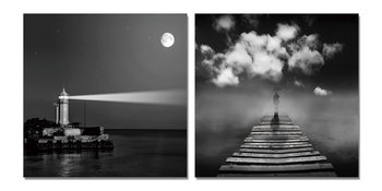 Lighthouse gray Tableau Multi-Toiles