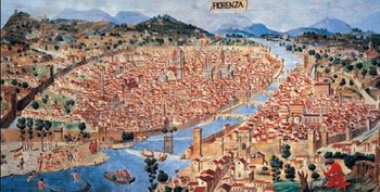 Map of Florence, 1470 Reproduction de Tableau