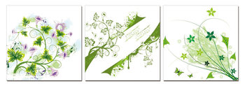 Modern Design - Green Flowers Tableau Multi-Toiles