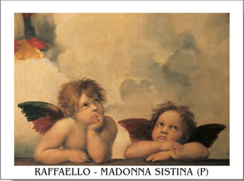 Raphael Sanzio - Sistine Madonna, detail - Cherubs, Angels 1512 Reproduction de Tableau