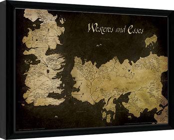 Urzeala tronurilor - Westeros and Essos Antique Map Afiș înrămat