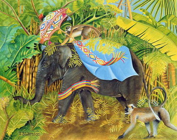 Tablou Canvas Elephant with Monkeys and Parasol, 2005