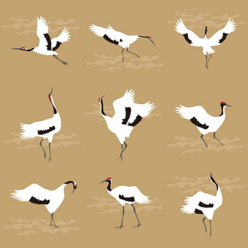 Tablou Canvas Oriental Cranes