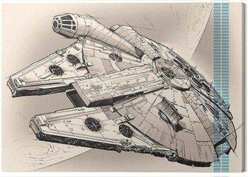 Tablou Canvas Star Wars Episode VII - Millennium Falcon Pencil Art