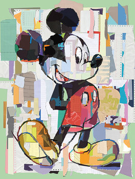 Mickey Mouse - Office Decoupage Tablou Canvas