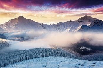 Tablouri pe sticla Misty Mountains