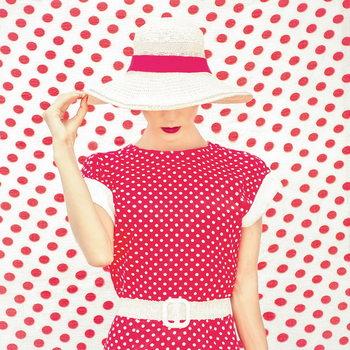 Tablouri pe sticla Retro Woman - Pink