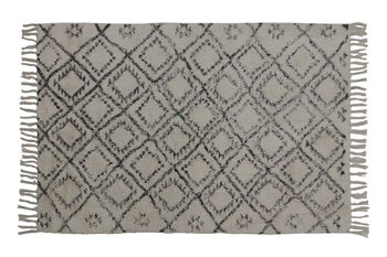 Teppe Boyaka - Black-White Rhombus Print Tekstil