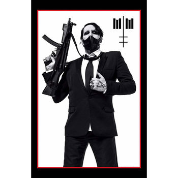 Tekstilni poster Marilyn Manson - Machine Gun