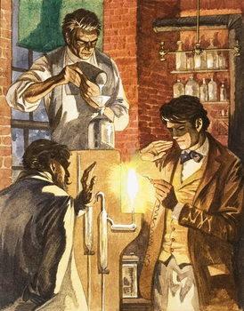 Thomas Edison and Joseph Swan create the electric light Festmény reprodukció