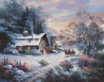 SNOWY EVENING OUTING Reprodukcija umjetnosti