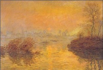 Sunset on the Seine at Lavacourt Reprodukcija