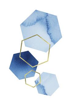 Blue geometric Tableau sur Toile