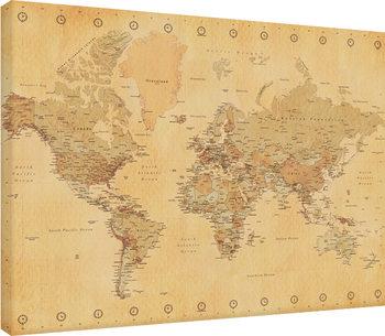 Carte du monde - Vintage Style Tableau sur Toile
