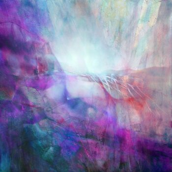 Tableau sur Toile drifting - composition in purple and turquoise