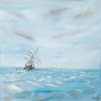 Tableau sur Toile Endurance trapped by Antarctic Ice, 2014,