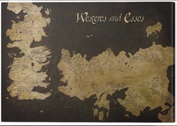 Tableau sur Toile Game of Thrones - Westeros and Essos Antique Map