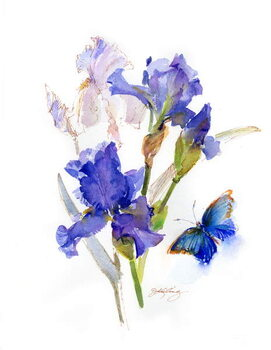 Tableau sur Toile Iris with blue butterfly, 2016,