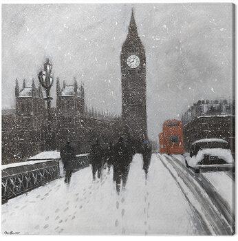 Jon Barker - Snow Men, Westminster Bridgeq Tableau sur Toile