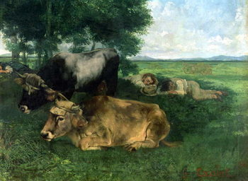 Tableau sur Toile La Siesta Pendant la saison des foins (and detail of animals sleeping under a tree), 1867,