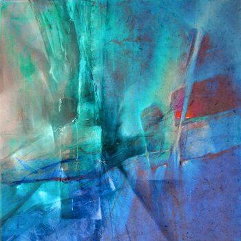 Tableau sur Toile Pas de deux - red and turquoise