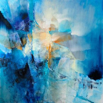 Tableau sur Toile spring is knocking - composition in blue and orange