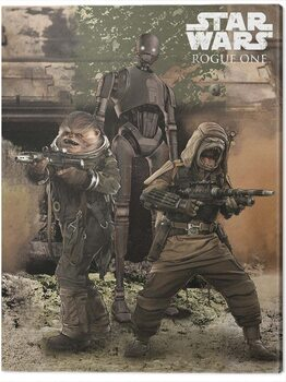 Tableau sur Toile Star Wars Rogue One - Pao, Bistan & K - 2S0
