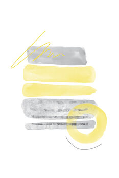 Tableau sur Toile Watercolor Shapes No. 1   Illuminating Yellow & Ultimate Grey