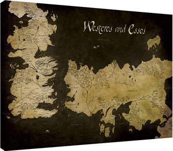 Game of Thrones - Westeros and Essos Antique Map Tableau sur Toile