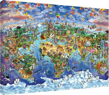 Maria Rabinky - World Wonders map Tableau sur Toile