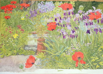 Poppies and Irises near the Pond Tableau sur Toile